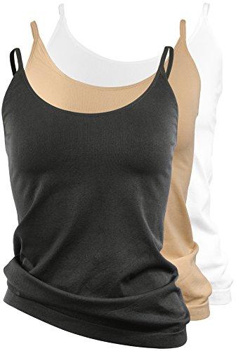 Damen Unterhemd, Top mit Spaghetti Trägern, Seamless Unterwäsche Schwarz