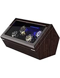 Watch Winder for 4 Automatic Watches, with Blue Led Light, Soft Flexible Watch Pillows, Open and Shut Down Featured, Pine Bark Pattern (for 4 Watches)