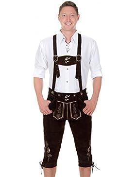 Herren Trachten Kniebund Lederhose Hirsch dunkelbraun aus feinstem Rindsveloursleder Gr. 44-68