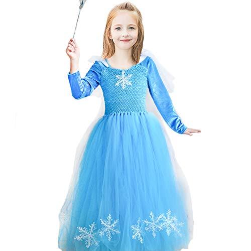 (Mädchen Schnee Königin ELSA Kostüm Flanell Prinzessin Halloween Kostüm Party Outfit Kostüm mit Langen Ärmeln)