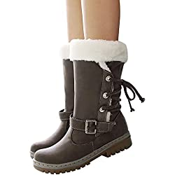 ❤️ Botas de Nieve de Las Mujeres, Clásicos Botas de Nieve de Las Mujeres Tacones Planos de Moda Zapatos de Invierno Botas de Piel Caliente Además de Terciopelo Absolute
