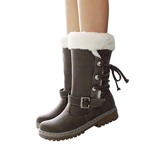 MYMYG Warmer Stiefel Schneestiefel Boots Flache Booties Schnalle Lace Up Schuhe Schnür Stiefel Runde Zehe Schuhe Winterstiefel Einfarbig Warme Lederstiefel Winter Schnürstiefel Boots Schnürschuhe -