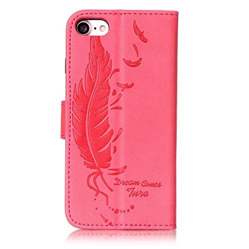 iPhone 7étui portefeuille en cuir pour livre, newstars Fleurs Papillon gaufrage en relief PU Touch Housses Protège la peau étui en cuir avec béquille pour iPhone 7emplacements pour cartes avec/poche Feather Red