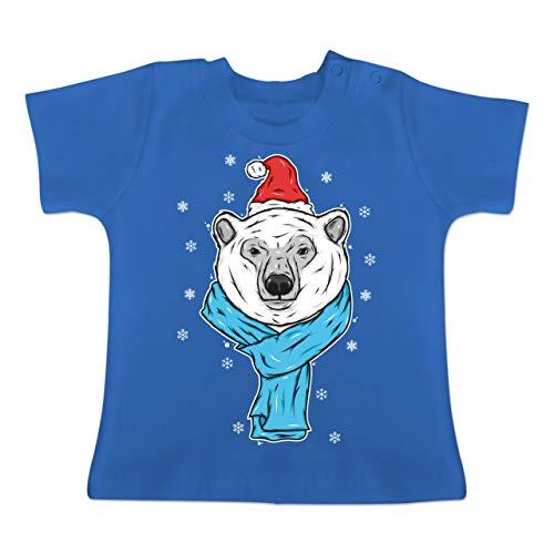Tiermotive Baby - Eisbär mit Mütze und Schal - 1-3 Monate - Royalblau - BZ02 - Baby...