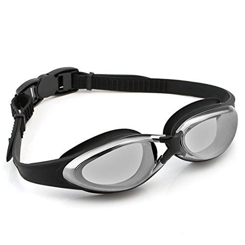 Lihao occhiali da nuoto protezione da uv e anti-appannamento occhiali con fascia regolabile adatto a uomo, donna e bambino