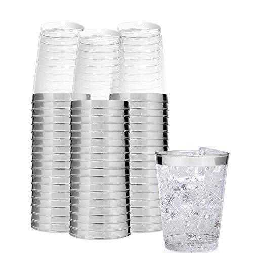 BELLE VOUS Kunststoffbecher (24 TLG) - 300 ml / 0.3l Glasklar Plastikbecher - Trinkbecher zum Party, Camping, Hochzeiten, Strand - Stapelbar Plastik Becher - Kunststoff Becher (11 oz)
