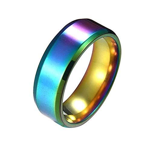 Floweworld Retro Einfache Ring Mode Einfache Unisex Liebhaber Edelstahl Spiegel Fingerringe Schmuck Geschenke -