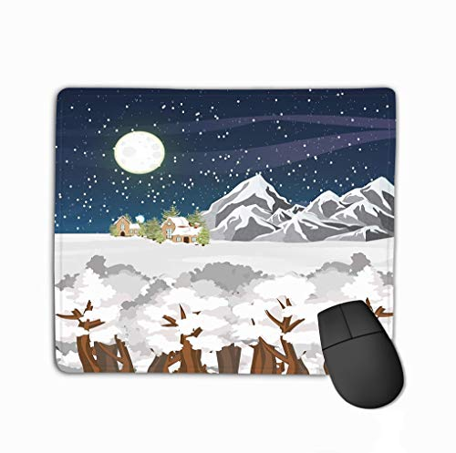 Non-Slip Thick Rubber Large Mousepad 11.81 X 9.84 Inch Winter Landscape Mountains Houses Forest Snow Starry Night Sky Big Full Moon Winter Mountains Winter Full House