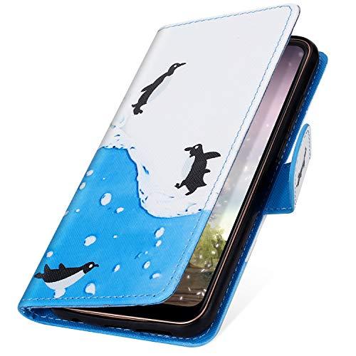 Preisvergleich Produktbild MoreChioce Huawei P8 Lite 2017 Hülle,Huawei P8 Lite 2017 Ledertasche, Cute Pinguin Muster Bookstyle Klapphülle Stand Flip Case Handyhülle Magnetverschluß mit Kartenfach für Huawei P8 Lite 2017