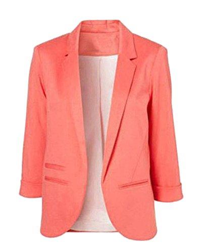 ZongSen Donna Casuale Boyfriend Manica Lunga Slim Fit Colore Puro Giacca Blazer Peach Rosso