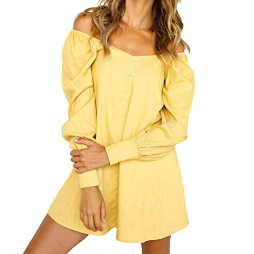 Longra Damen Schulter Sommerkleid Knielang Elegant Asymmetrisches Kleid Blusenkleid Hemdkleid Minikleid Damen V-Ausschnitt Button Tunika Bluse Langarm Top Longshirt Casual Lose Hemdkleid (S, Yellow) Ausschnitt Button
