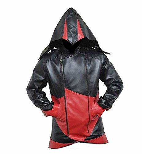 Classyak Assassins Creed Herrenjacke Faux Black and Red