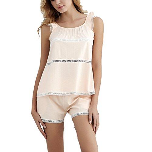 Zhhlaixing Adult Two pieces Pyjamas Set Summer Womens Comfortable Cotton Nightwear Pastel orange