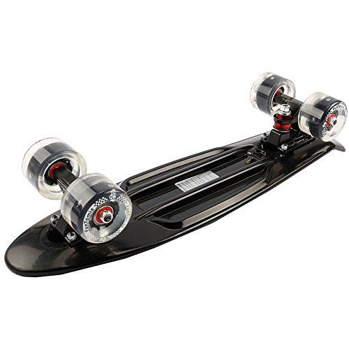 FunTomia Mini-Board Cruiser Skateboard mit 70/65mm Big Wheel Rollen inkl. ABEC-11 MACH1® Kugellager (auch mit LED Rollen) (Schwarz FunTomia LED + T-Tool + Lenkgummis) -
