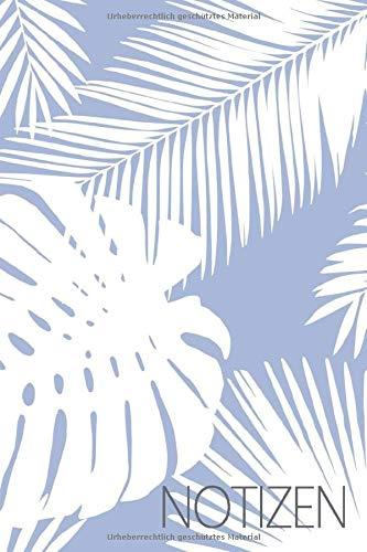 Notizen: Liniertes Notizbuch für alle Notizen, Termine, Skizzen, Zeichnungen, Tagebuch oder Kalender; breites Linienraster; Motiv: Blumen Blätter Palme Tropisch - Dschungel-palme
