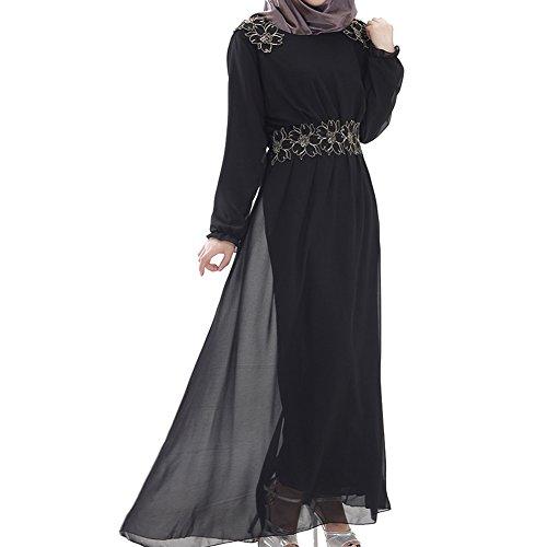 Highdas dame musulmane robe grande taille swing femmes manches longues robe en mousseline de soie islamique Noir