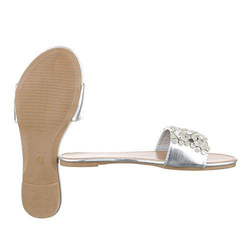 Pantoletten Damen Schuhe Jazz & Modern Strass Besetzte Ital-Design Sandalen / Sandaletten Silber