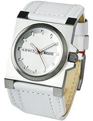 Levi's L002GUCWRW - Reloj de caballero de cuarzo, correa de piel color blanco