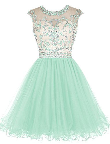 Fanciest Women' Cap Sleeve Beaded Kurz Homecoming Kleides Ball Lang Abendkleider Ballkleid Schwarz Mint