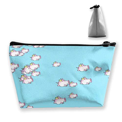 Nette Fliegende geflügelte Schweine Muster Reise Make-up Tasche Travel Wash Taschen Junge Federmäppchen