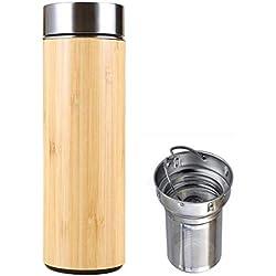 Botella Termica Té Acero Inoxidable Infusor Taza Viaje Termica Café Bambú Travel Mug Thermos Para Agua Filtro Infusione Sin Bpa Taza Té Termo Tea Bottle Set Mug Machine Teteraté Embolo Oficina (0,36L)