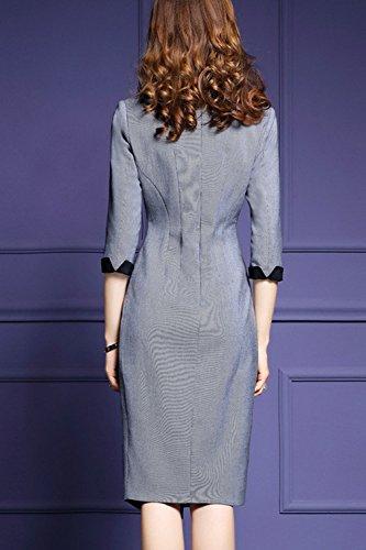 Le Donne Eleganti Di Carica Formale Con Lo Scollo A V Ricamati Slim Matita Vestito Taglia Grey