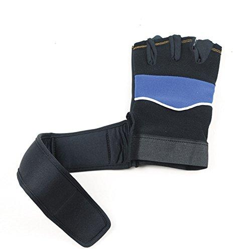 Gewichtheben-ausrüstung (JZDCSCDNS Half-Finger-Handschuhe Fitness Ausrüstung Training Gewichtheben Hantel Draussen Bewegung Reiten Rollschuhlaufen Handschutz Verlängert Armschienen Rutschfest Treppen Tuch,Blue)