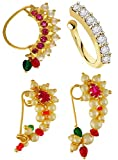 Vama Fashions Maharashtrian Nath Clip on Nose Ring Without Piercing For Women Stylish.