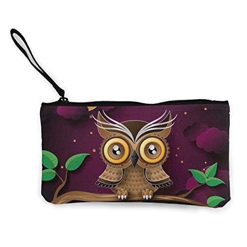 Nette Leinwand Clutch Twig Moon Owl Geldbörsen Brieftasche Geld Cash Bag Schminktasche Handytasche Mäppchen -