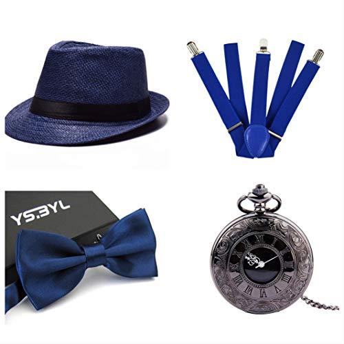 Thematys® cappello gangster mafia al capone + farfallino + bretelle + orologio da taschino - set costumi anni '20 per donne e uomini - perfetto per carnevale (2)