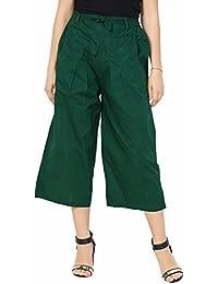 Solid Colour Green Pants For Women - Dark Green Culottes Cotton Pants For Women - Bottle Green Cotton Capri Pants...