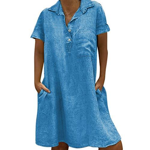 EUCoo Damen Leinen Kleid Sommer tropischen Stil Volltonfarbe V-Ausschnitt Tasche beiläufige lose Hemdkleid (Kleider Frauen Größe Für Kirche 20)