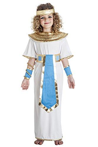 Imagen de disfraz de faraona egipcia blanco y azul para niña