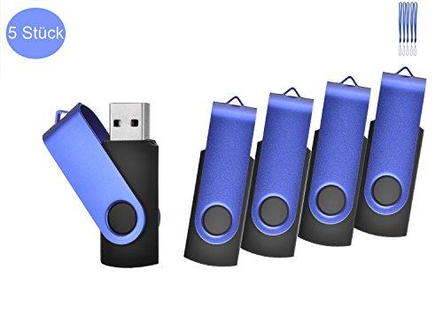 TEWENE 5 Stück usb-stick 2.0 memory stick (8GB, Blau)