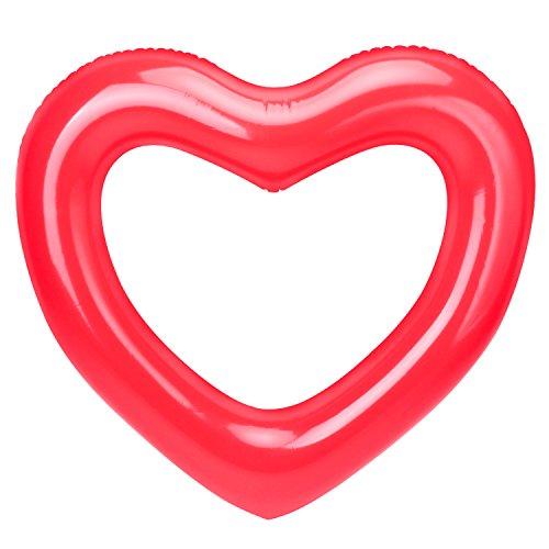 """HeySplash Inflatable Swim Rings, Salvagente Galleggiante ad Anello 47.3"""" x 39.4""""( 120cm x 100cm) in Formato Cuore, per Adulti & Bambini - Rosso"""