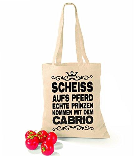 Artdiktat Baumwolltasche Scheiß auf´s Pferd - Echte Prinzen kommen mit dem Cabrio sunflower natural