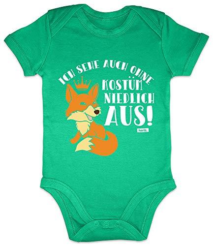 HARIZ Baby Body Kurzarm Ich Sehe Auch Ohne Kostüm Niedlich Aus Fuchs Karneval Kostüm Inkl. Geschenk Karte Frosch Quietsch Grün 3-6 Monate