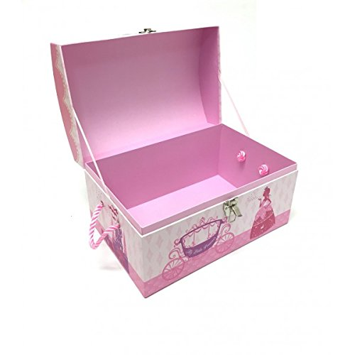 JVL Princess Design Cardboard Kids Toy Storage Room Tidy Box Treasure Chest Trunk (Large)