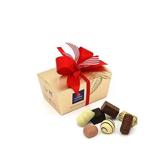 Leonidas Pralinen (ca. 240 g) | Eine erlesene Auswahl von 17 belgische Pralinen in schönem, goldenem Pralinen Ballotin mit handgefertigter Schleife, ideal als Geschenk oder zum Selbernaschen. -