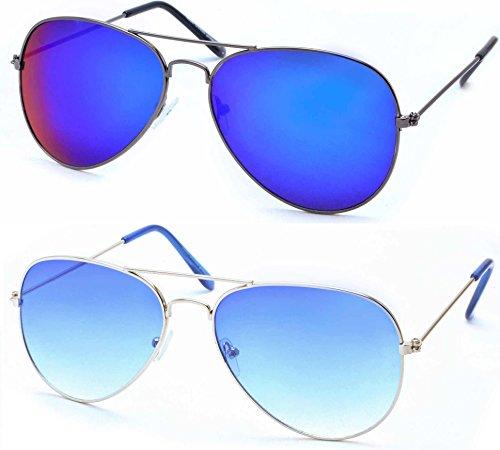 Stacle Premium Flash Mirrored Aviator Sunglasses (Combo Pack of 2) (ST5203 58 Blue)