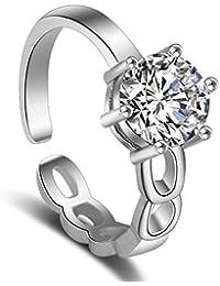 Karatcart Platinum Plated Elegant Adjustable Ring for Women