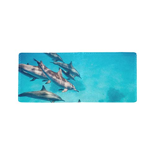 Jumping Happy Excited Dolphin Cool Lether Business Card Coin Id Pouches Holder Travel Clutch Purse Money Clip Bifold Wallet Case for Girls Men and Women Front Pocket Checkbook (Clip Card Case Id-money)