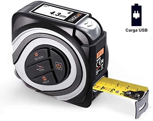 Cinta Métrica Digital, Tacklife MDT01 Cinta Métrica de 5 Metros Ancho de 22.5mm, Pantalla LCD, TypeC Carga, Cinta Métrica de Reciclaje Automática