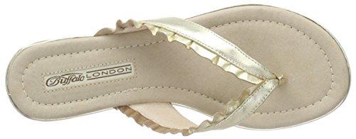 Buffalo London 15bu0222 Kid Leather Damen Zehentrenner Gold (GOLD 24)