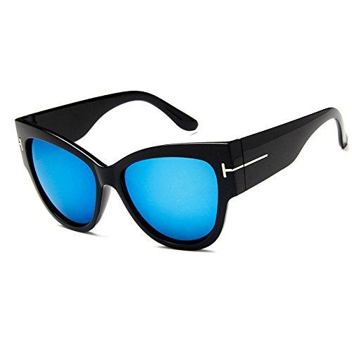 Sunyan Rundes Gesicht koreanischen Brillen eleganten neuen Stil, alte Frau, weibliche Persönlichkeit Sonnenbrille, Sonnenbrillen, Sonnenbrille, 15960, Helles Schwarz und Blau Quecksilber