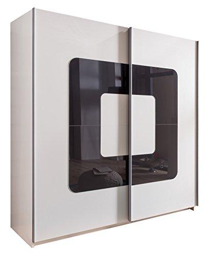 Wimex Kleiderschrank/ Schwebetürenschrank Curve, (B/H/T) 180 x 198 x 64 cm, Weiß/ Absetzung  Glas Grey