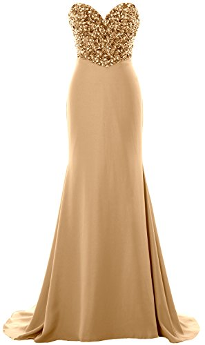 MACloth Women Strapless Long Prom Dress Crystals Formal Party Evening Gown Champagner