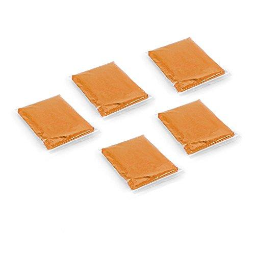 5 Mantelle da Adulti Impermeabili Poncho con Cappuccio - Parco Festival - Arancione trasparente