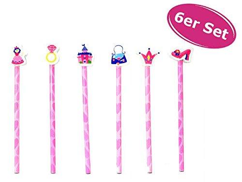 Bleistift Prinzessin mit Radiergummi, 6er Set - ausgefallener Bleistift mit Radierer, Stift