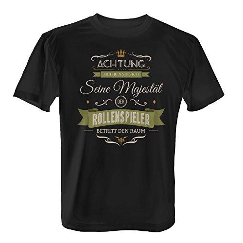 Fashionalarm Herren T-Shirt - Seine Majestät der Rollenspieler betritt den Raum | Fun Shirt mit Spruch als Geschenk Idee für Hobby Freizeit LARP Schwarz